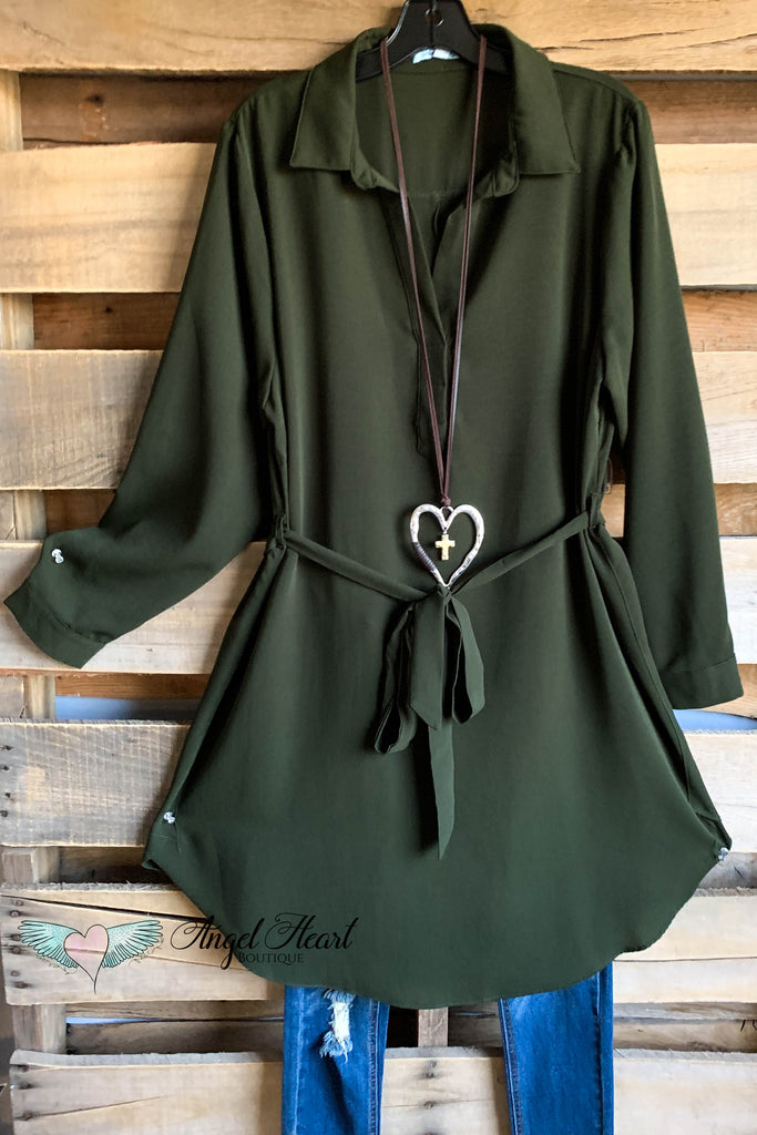 Crisp and Cool Long Sleeve Dress - Olive