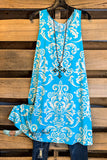 Damask Fairytale Sleeveless Dress - Turquoise