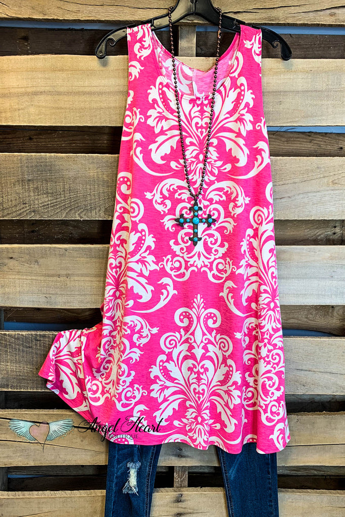Damask Fairytale Sleeveless Dress - Fuschia