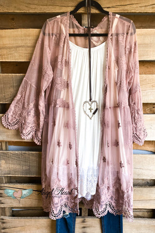 AHB EXCLUSIVE - A lesson in Luxe Lace Kimono - Mocha
