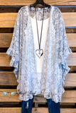 All The Beauty Lace Kimono - Gray