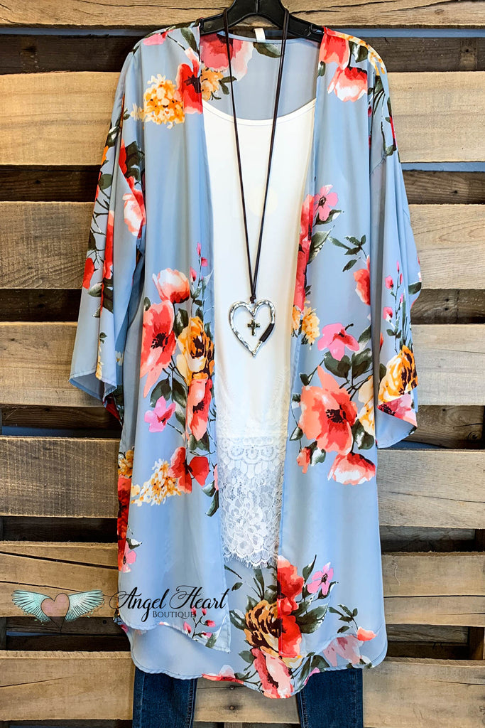 Don't Want To Miss A Thing Kimono - Dusty Blue - SALE