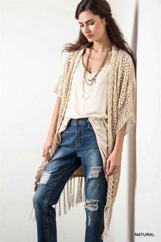 Follow Your Arrow Cardigan - Natural - Kori America - kimono - Angel Heart Boutique  - 4