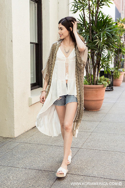 Follow Your Arrow Cardigan - Natural - Kori America - kimono - Angel Heart Boutique  - 5