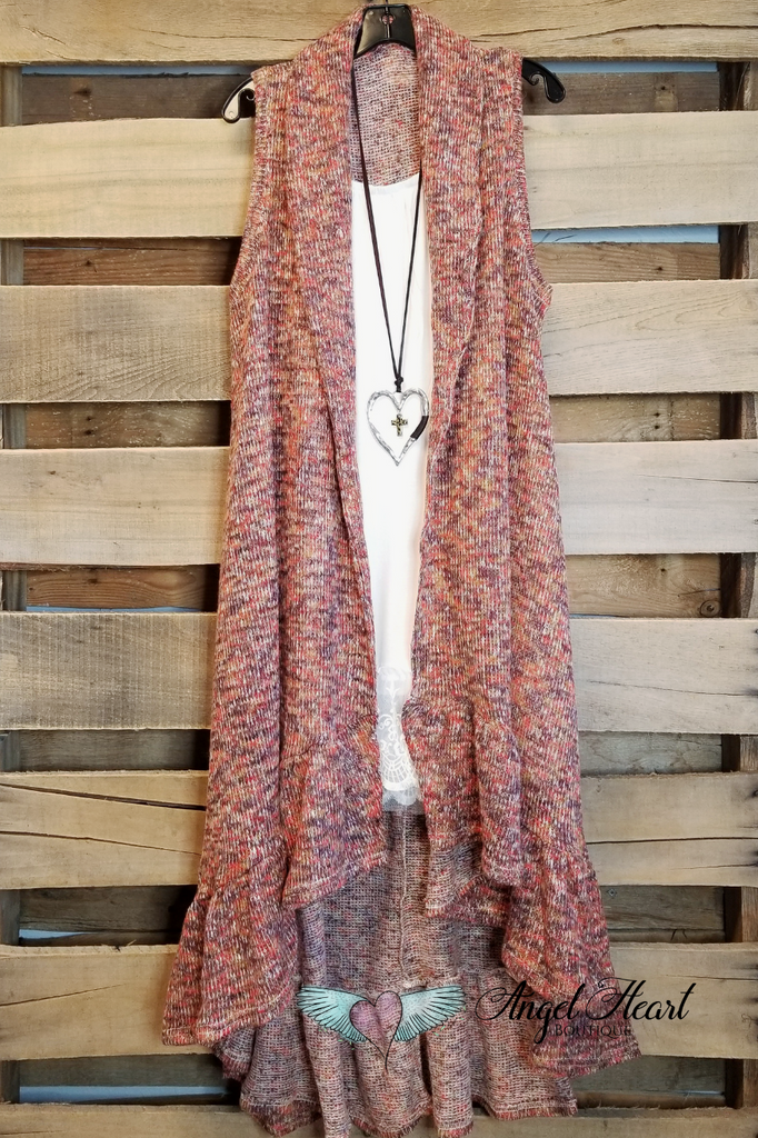 Knit Long Vest - Rust - SALE
