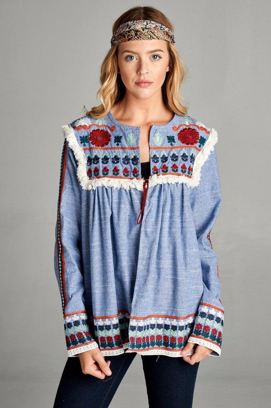 Life's an Enchantment Cardigan - Blue - SALE - Velzera - Cardigan - Angel Heart Boutique  - 1
