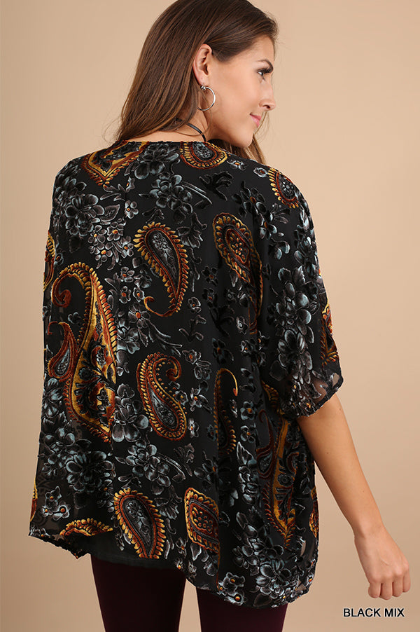 Burnout Velvet Kimono - Black [product type] - Angel Heart Boutique