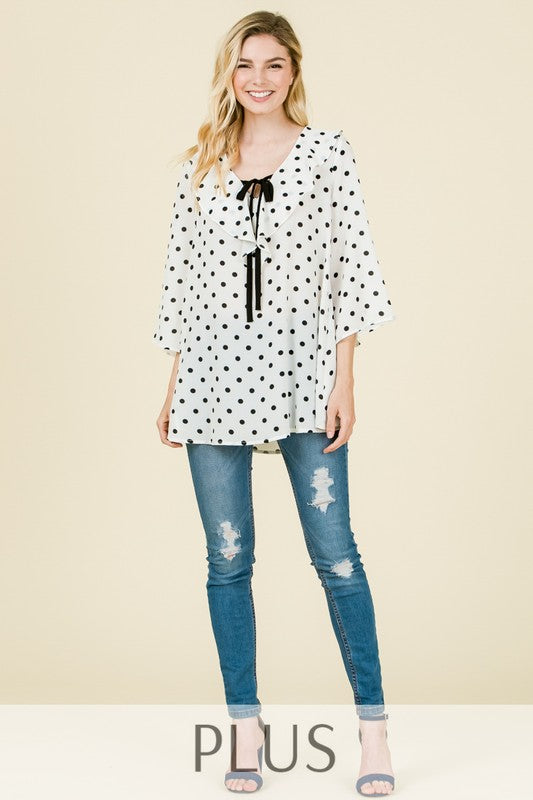 Polka Dot Blouse - Black [product type] - Angel Heart Boutique
