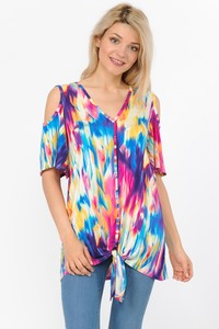 Shine On Me Cold Shoulder Top - Multi [product type] - Angel Heart Boutique