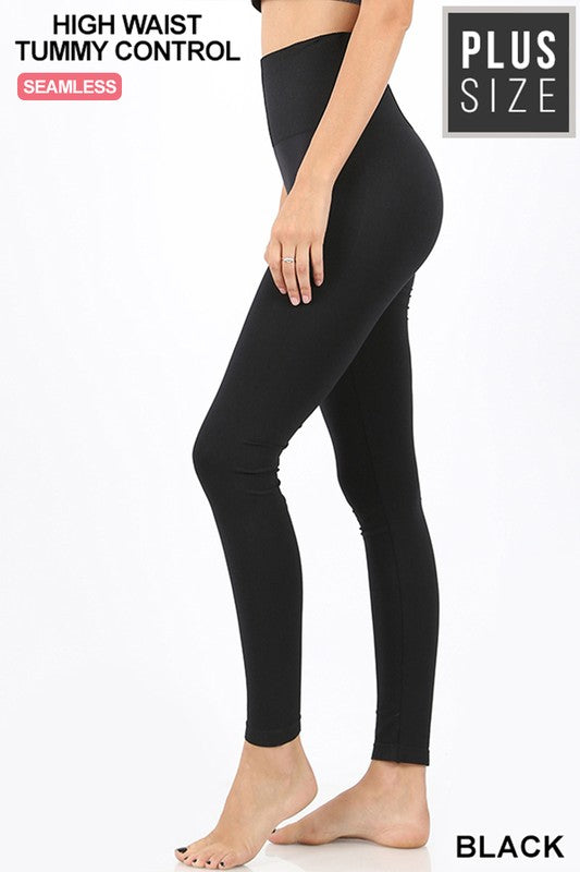 Diamond Waist Tummy Control Seamless Leggings - Black