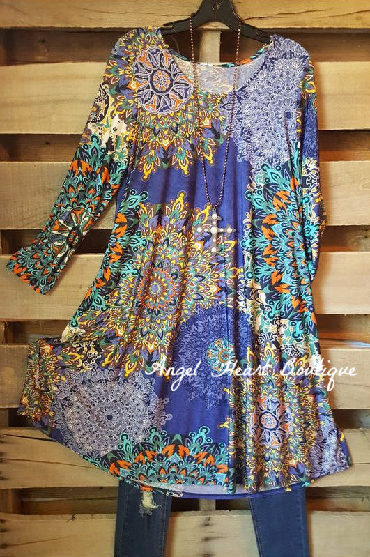 Piece Together Tunic - Blue - Sassy Look - Tunic - Angel Heart Boutique
