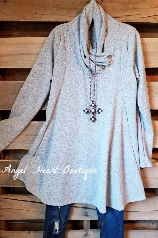 Lead You To Love Tunic - Gray - SALE [product type] - Angel Heart Boutique