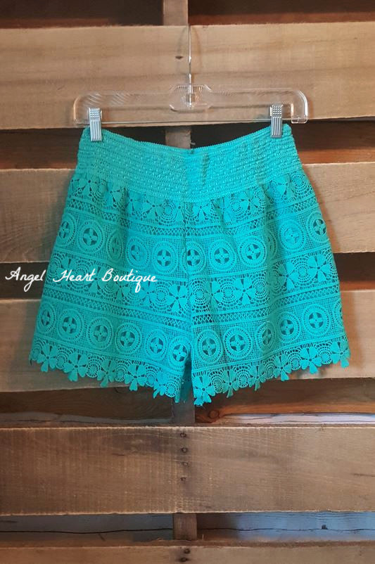 Born To Fly Shorts - Turquoise - Angel Heart Boutique - Shorts - Angel Heart Boutique  - 1