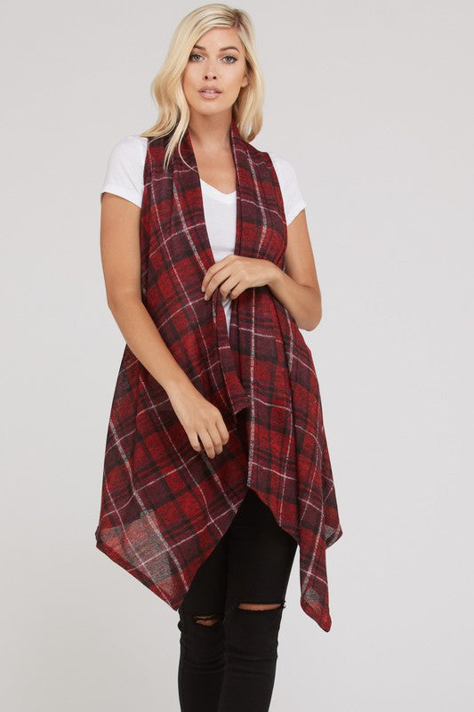 Big Plans Plaid Vest - Red [product type] - Angel Heart Boutique
