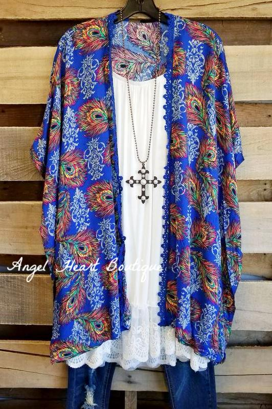 Peacock and Love Kimono - Navy [product type] - Angel Heart Boutique