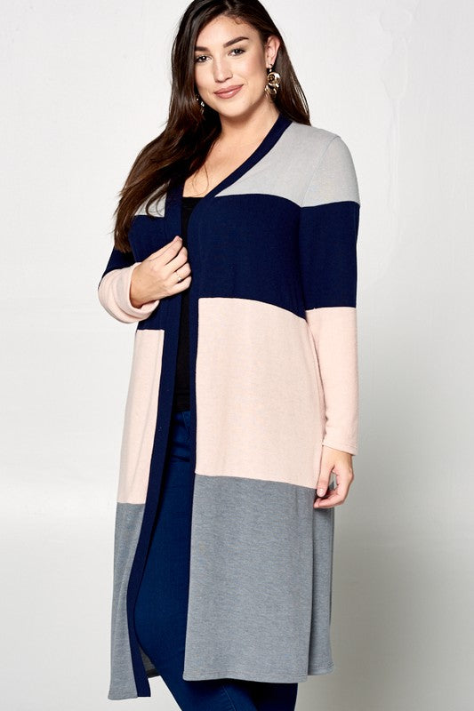 Beautiful Lives Duster Cardigan - Grey/Blush