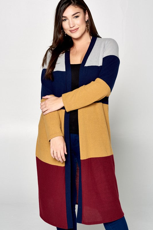 Beautiful Lives Duster Cardigan - Burgundy/Mustard