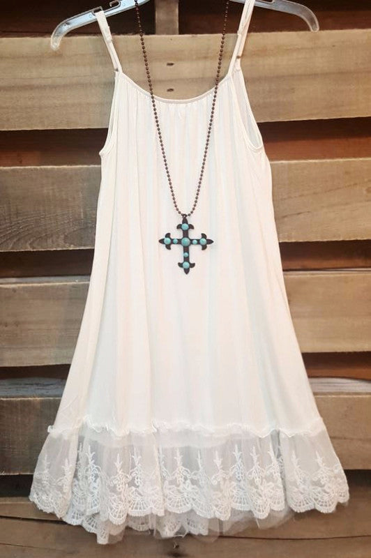 Slip On Dress - White - Angel Hear - Dress - Angel Heart Boutique  - 1
