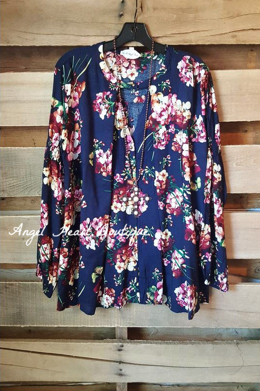 Fall Floral Secret Top - Navy - SALE - Umgee - top - Angel Heart Boutique  - 2