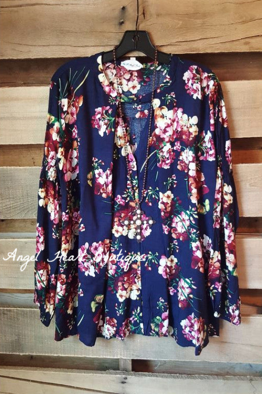 Fall Floral Secret Top - Navy - SALE - Umgee - top - Angel Heart Boutique  - 1