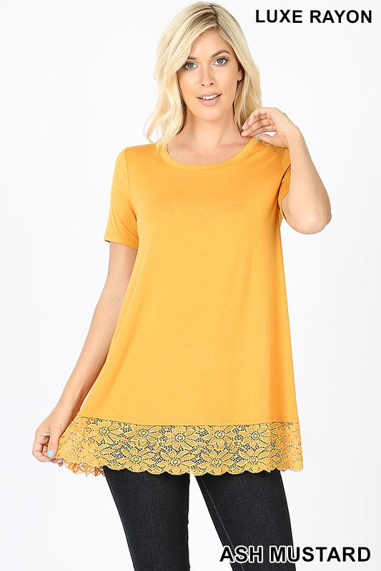 Soft As Can Be Lace Top - Ash Mustard