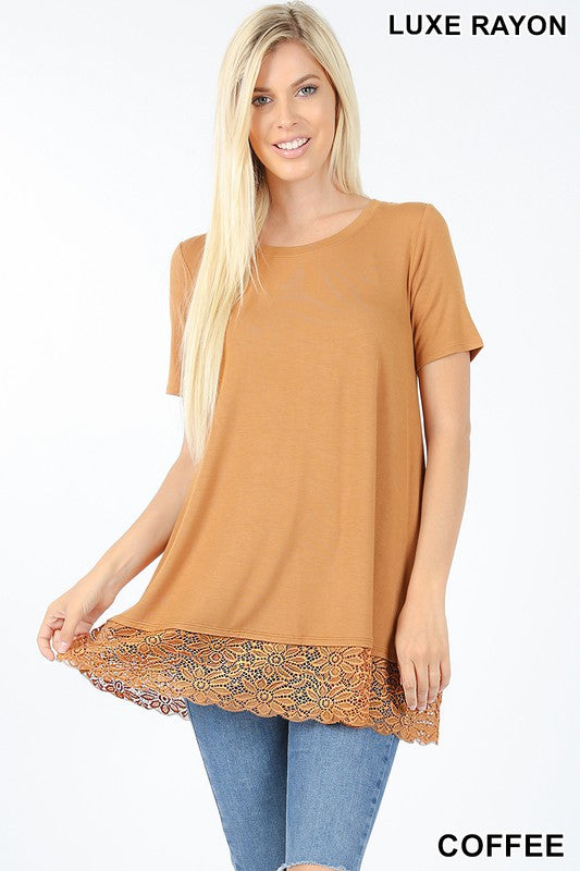 Soft As Can Be Lace Top - Coffee