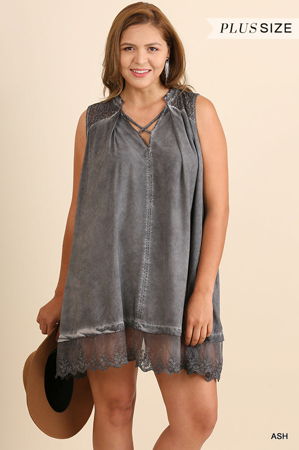 Washed Away Sleeveless Top - Blue [product type] - Angel Heart Boutique