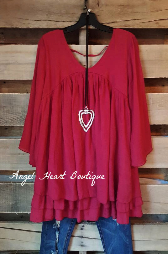 Only Thing That Matters Tunic - Crimson - Sassybling - Tunic - Angel Heart Boutique  - 3