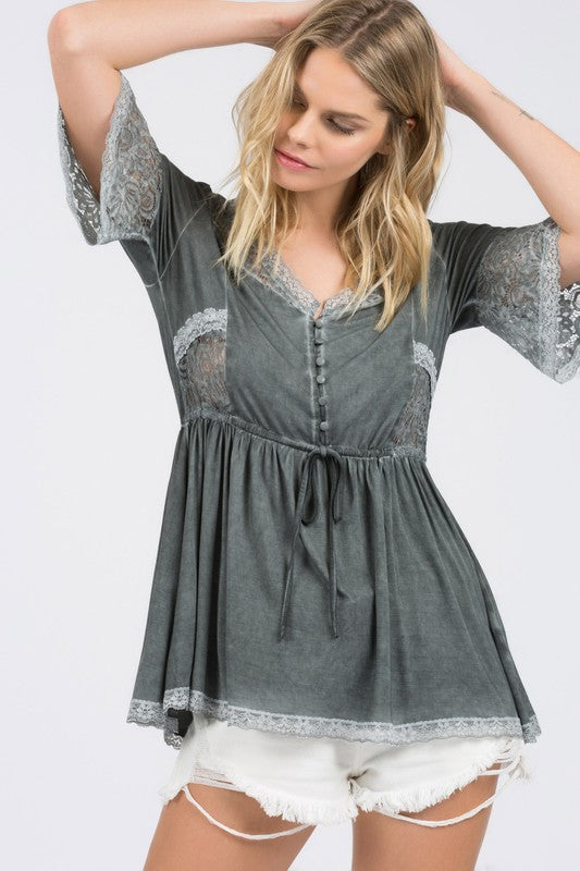 Cherish Your Heart Top - Charcoal