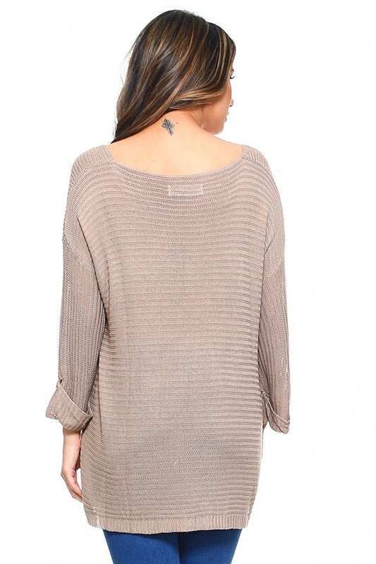 Live For The Weekend Loose Fit Sweater - Khaki [product type] - Angel Heart Boutique