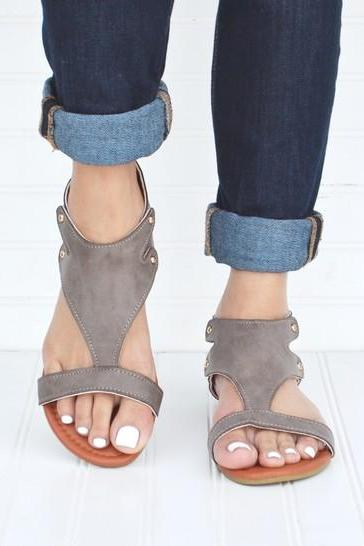 Gladiator Sandals - Pewter [product type] - Angel Heart Boutique