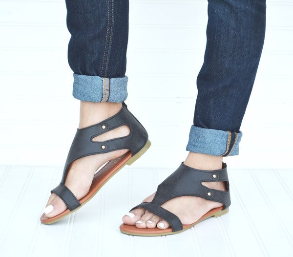 Gladiator Sandals - Black [product type] - Angel Heart Boutique