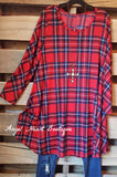 Plaid With Your Heart Tunic - Red - 2N1 Apparel - Dress - Angel Heart Boutique  - 2