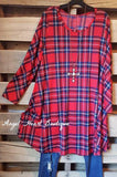 Plaid With Your Heart Tunic - Red - 2N1 Apparel - Dress - Angel Heart Boutique  - 1