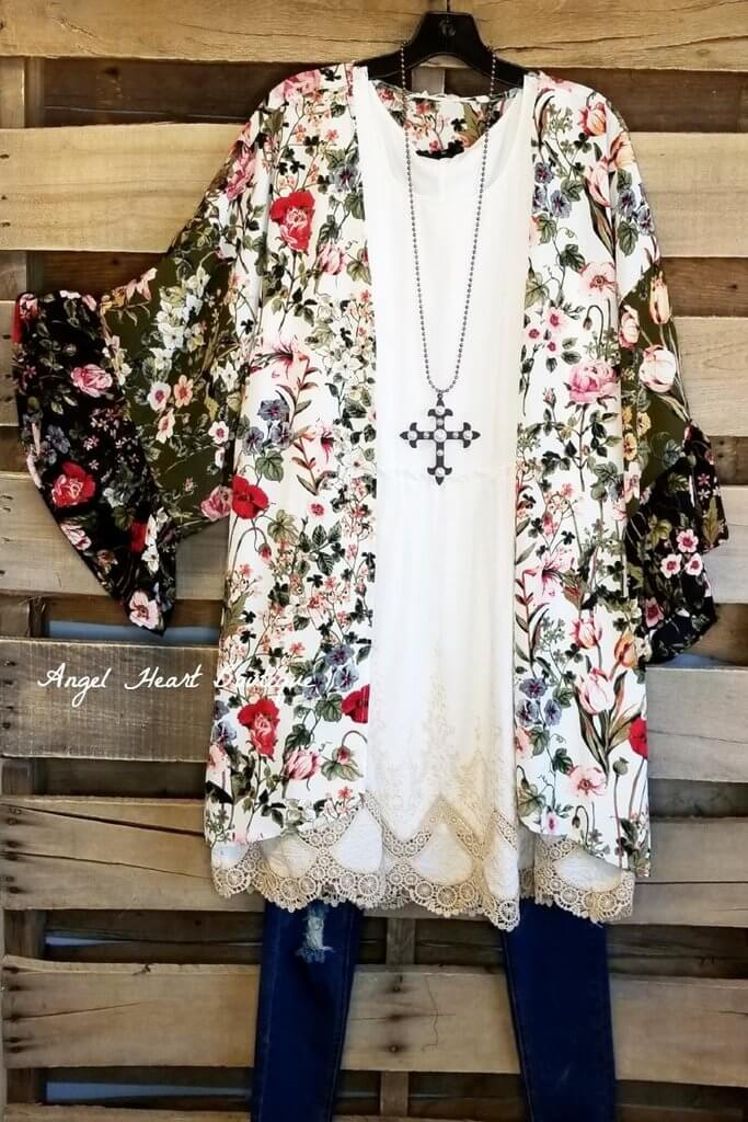 Thinking of You Kimono - Cream [product type] - Angel Heart Boutique