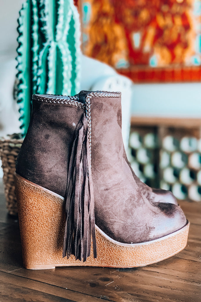 Western Vibes Fringe Wedge - Mocha - SALE (Size 5.5 &7 Left)
