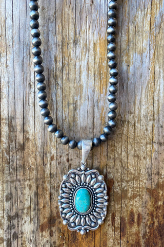 AUTHENTIC TURQUOISE STONE - Rock My Way Cross Necklace