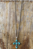 Followed Feelings Cross Necklace - Turquoise