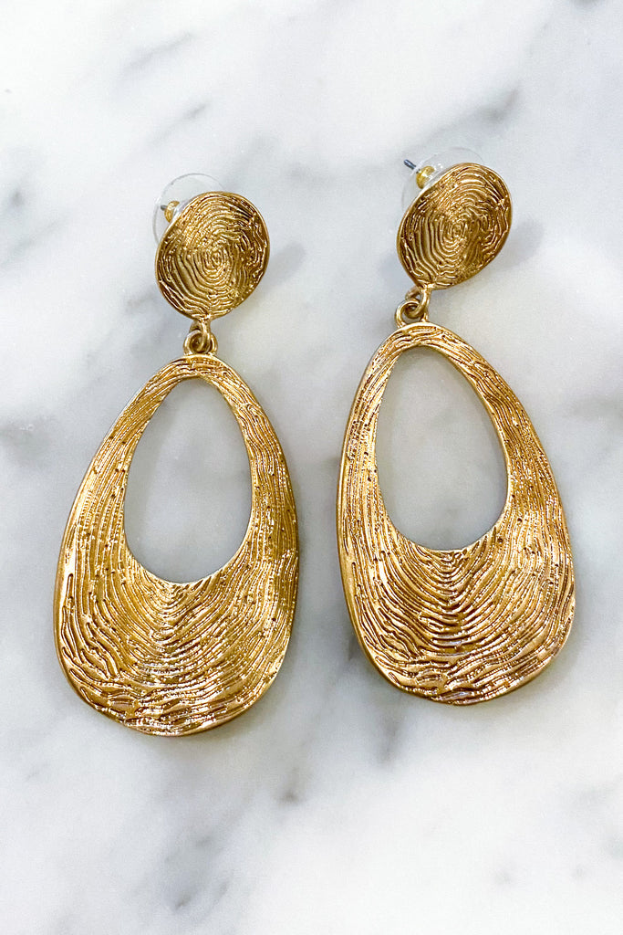 Gold Textured Curved Metal Earrings
