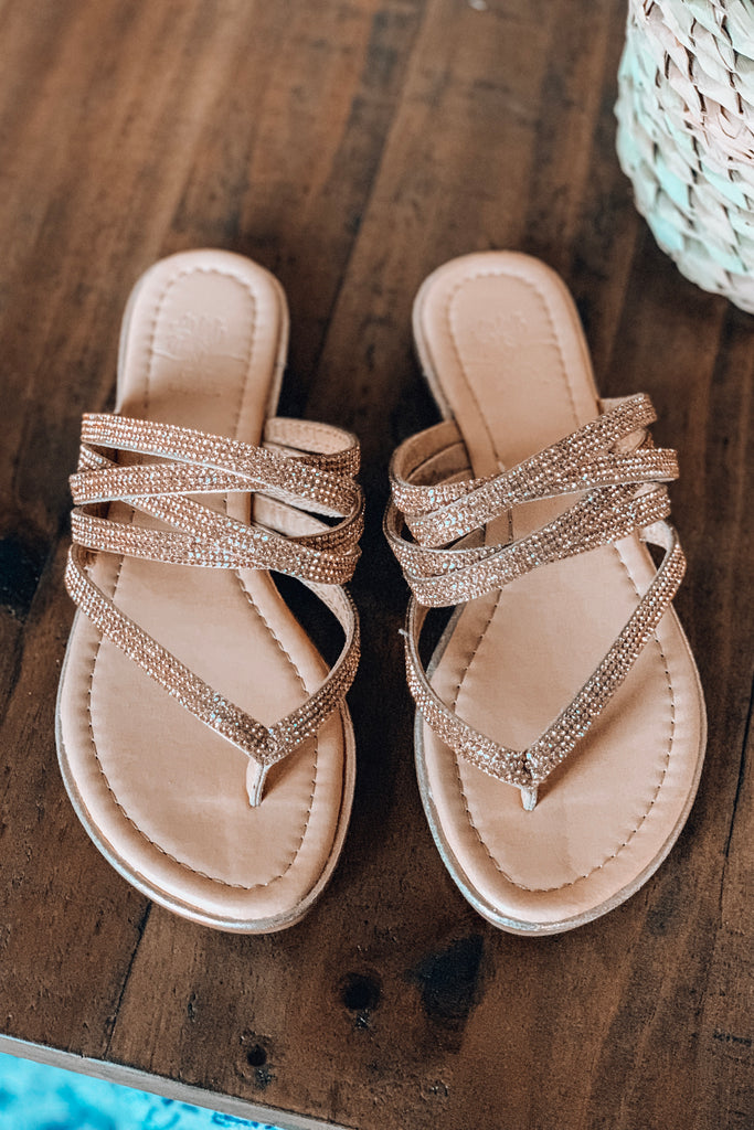 GOOD CHOICE: That Sparkle On Life Sandals - Rose Gold