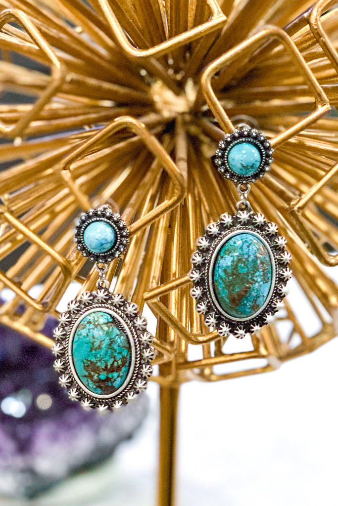 AUTHENTIC TURQUOISE STONE: Nala Earrings