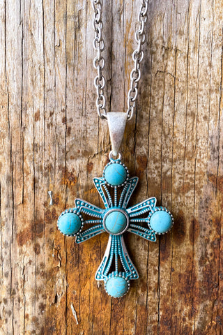 Cross To My Heart Necklace - Turquoise