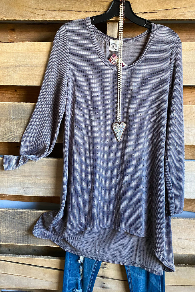 Gray Long Sleeve Rhinestone Pullover