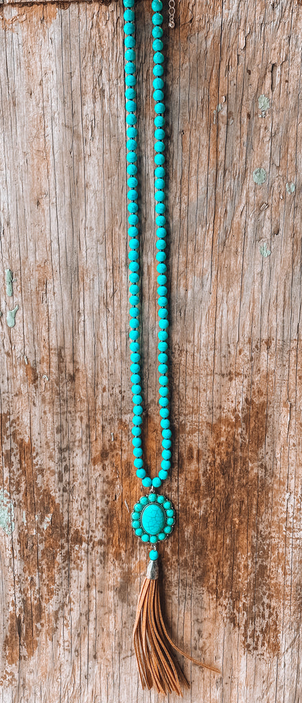 Turquoise Leather Tassel Necklace