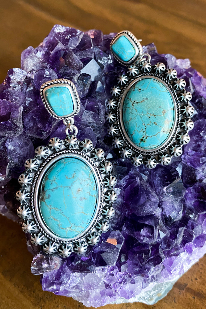 AUTHENTIC TURQUOISE STONE - Babe Blooming Earrings