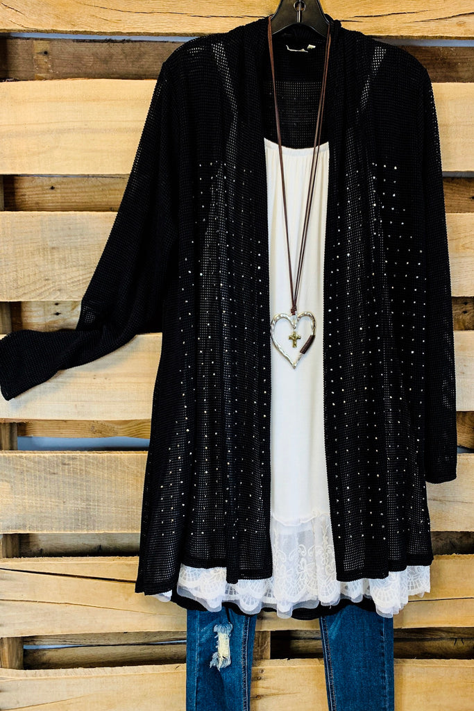 All About That Shine Cardigan - Black