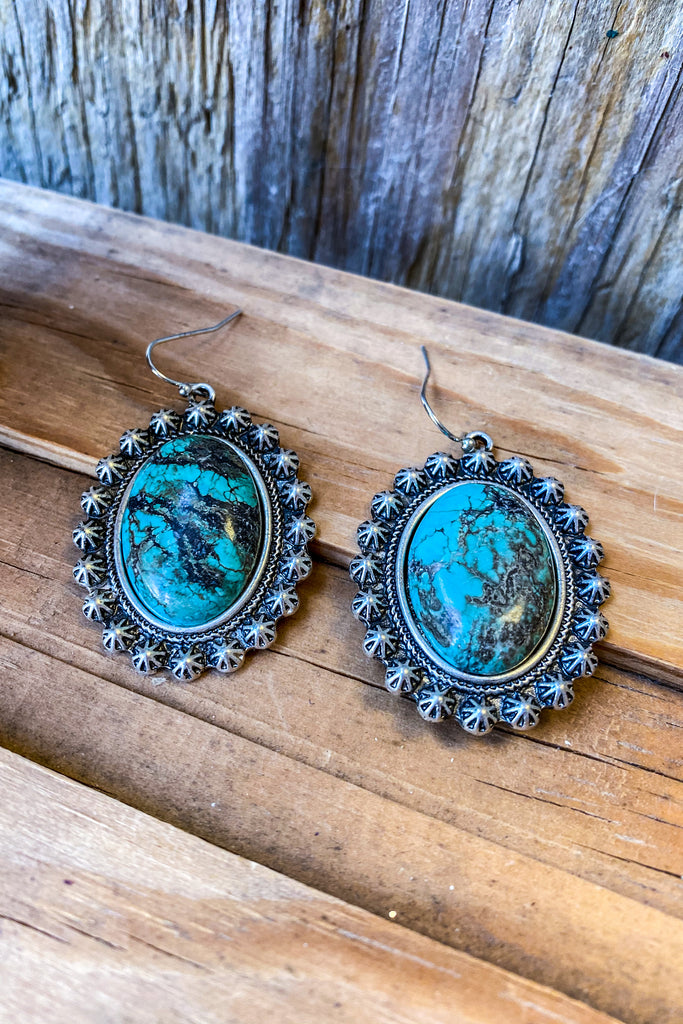 AUTHENTIC TURQUOISE STONE - Oval Turquoise Fish Hook Earrings