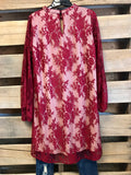Full Of Surprises Dress - Burgundy