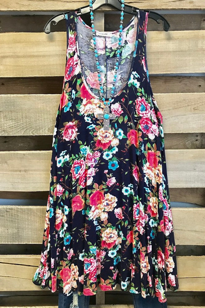 Floral Sleeveless Dress - Navy - SALE