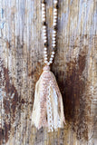 Leopard Fabric Tassel Necklace -Rose-gold